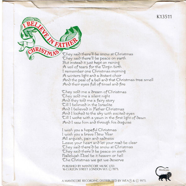 I Believe In Christmas.Greg Lake I Believe In Father Christmas 1975 New Music